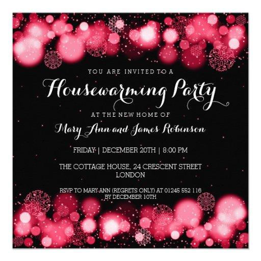 Elegant Winter Housewarming Party Red Invites