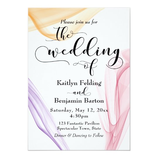 Elegant Wispy Orange, Purple & Red Invitation