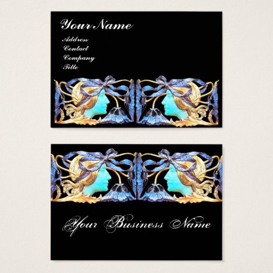 ELEGANT WOMAN BEAUTY JEWEL /LADY,BLUE BOW,FLOWERS BUSINESS CARD