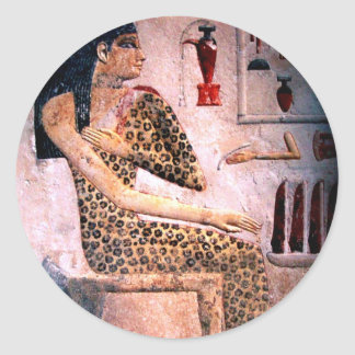 ELEGANT WOMAN ,FASHION AND BEAUTY OF ANTIQUE EGYPT ROUND STICKER