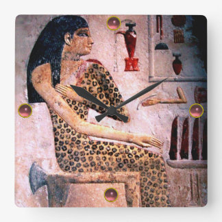 ELEGANT WOMAN ,FASHION AND BEAUTY OF ANTIQUE EGYPT SQUARE WALL CLOCK