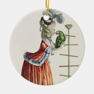 Elegant Woman in a Caraco 'a la Polonaise' and a h Christmas Ornament