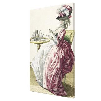 Elegant Woman in a Dress 'a l'Anglaise' Drinking C Canvas Print