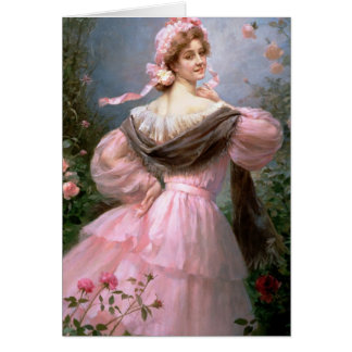 Elegant woman in a rose garden greeting card