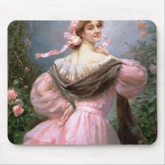 Elegant woman in a rose garden mouse pad