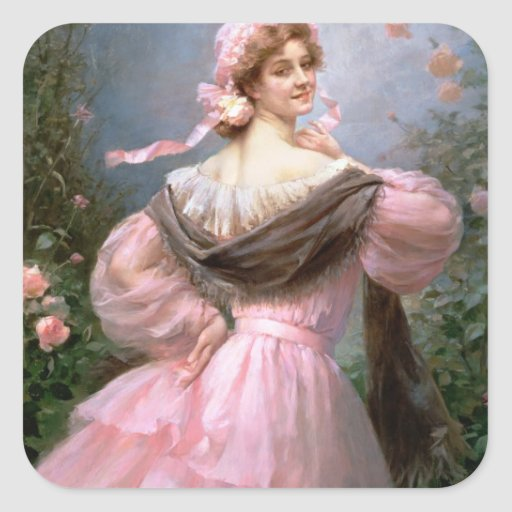 Elegant woman in a rose garden square stickers