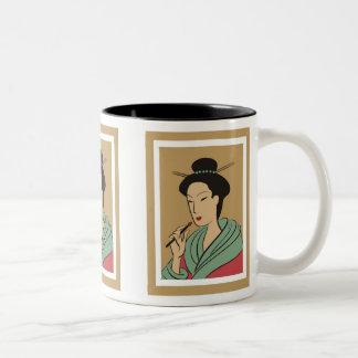 Elegant Woman in Green  Mug