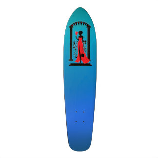 Elegant woman silhouette in red dress with mask 21.3 cm mini skateboard deck