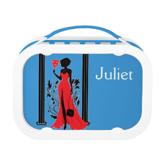 Elegant woman silhouette in red dress with mask lunch box