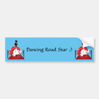 Elegant woman silhouette on red carpet with stars bumper sticker