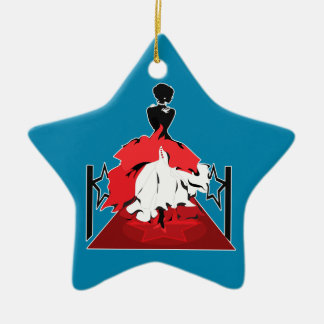 Elegant woman silhouette on red carpet with stars ceramic star decoration