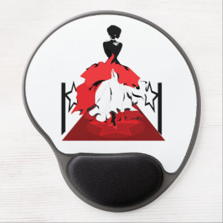 Elegant woman silhouette on red carpet with stars gel mouse pad