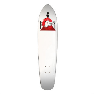 Elegant woman silhouette on red carpet with stars skateboard