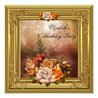 "Elegant Womans Birthday Party Autumn Roses 5.25"" Square Invitation Card"