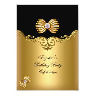 Elegant Womans Black Gold Birthday Party Custom Invite