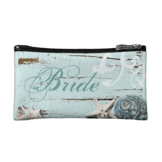 Elegant wood BLue Seashells Beach bride Cosmetics Bags