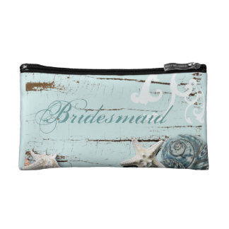 Elegant wood BLue Seashells Beach bridesmaid Makeup Bags