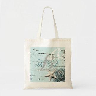 Elegant wood BLue Seashells Beach Wedding Budget Tote Bag