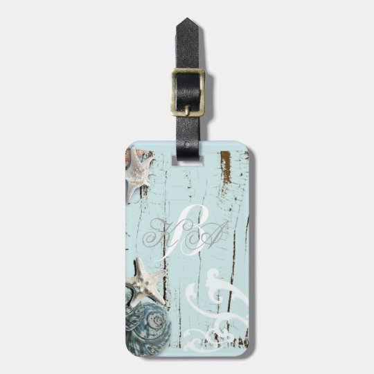 Elegant wood BLue Seashells Beach Wedding Luggage Tag