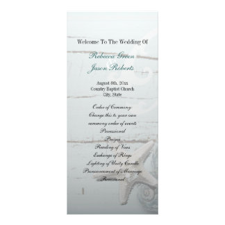 Elegant wood BLue Seashells Beach Wedding program Personalized Rack Card