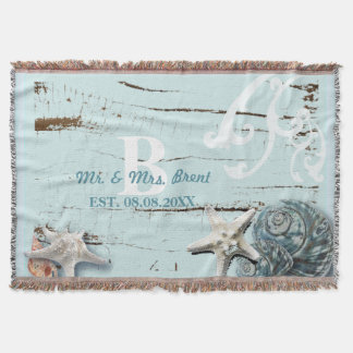 Elegant wood BLue Seashells Beach Wedding Throw Blanket