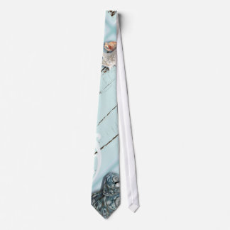Elegant wood BLue Seashells Beach Wedding Tie