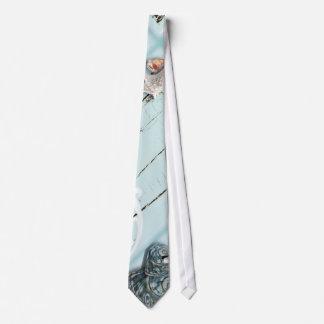 Elegant wood BLue Seashells Beach Wedding Tie
