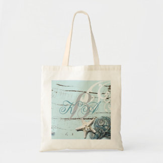 Elegant wood BLue Seashells Beach Wedding Tote Bag