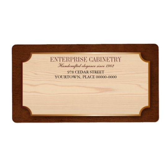 Elegant Wood Cabinetry Shipping Label