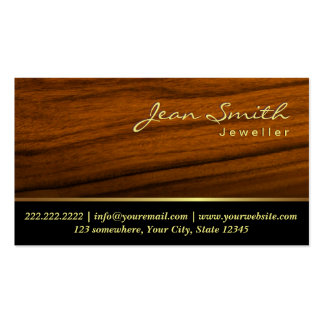 Elegant Wood Grain Jewelry Business Card