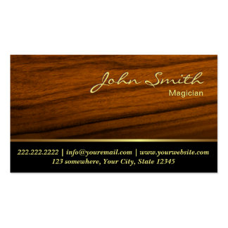 Elegant Wood Grain Magician Business Card