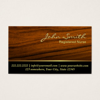 Elegant Wood Grain Nurse Business Card