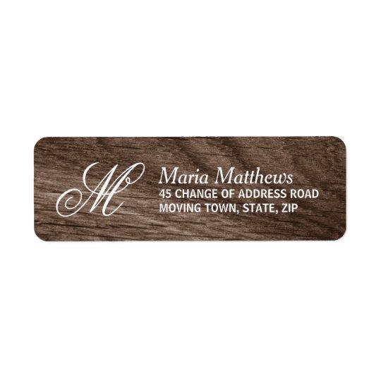 Elegant wood monogram return address