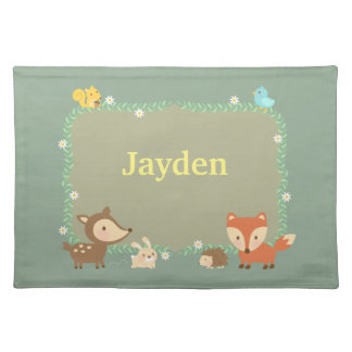 Elegant Woodland Animal For Kids Cloth Placemat