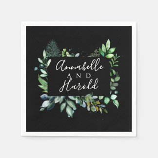 Elegant Woodland Greenery Wedding Disposable Napkin