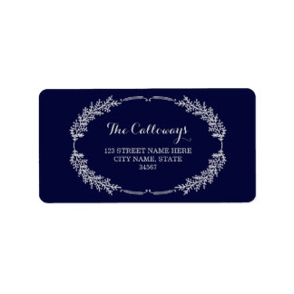 Elegant Wreath Address Labels / Navy