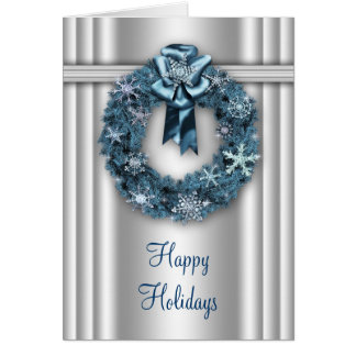 Elegant Wreath Silver and Blue Corporate Christmas Note Card