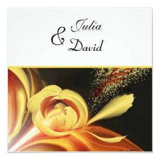 Elegant Yellow Abstract Floral Wedding Invitation