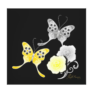 Elegant Yellow And Black Butterflies And Roses Stretched Canvas Print