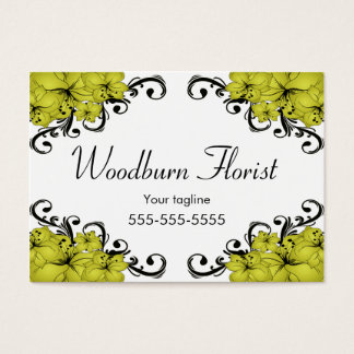 Elegant Yellow and Black Flowers Business Card
