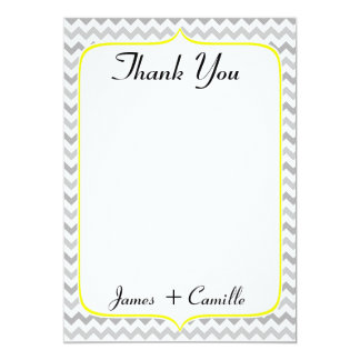 Elegant Yellow and Gray Chevron Thank You Card 13 Cm X 18 Cm Invitation Card