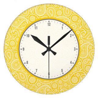 Elegant Yellow And White Vintage Paisley Pattern Large Clock