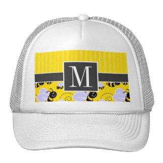 Elegant Yellow & Black Bee Mesh Hats