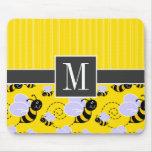 Elegant Yellow & Black Bee Mouse Mat