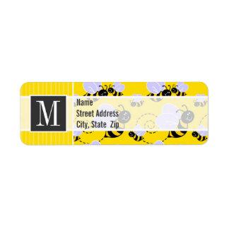 Elegant Yellow & Black Bee Return Address Label