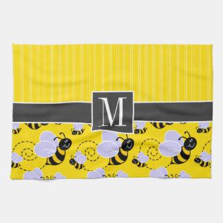 Elegant Yellow & Black Bee Tea Towel