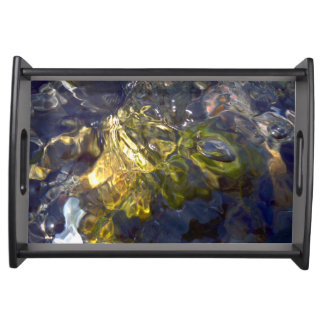 Elegant Yellow Blue Watery Abstract Photograph Serving Tray