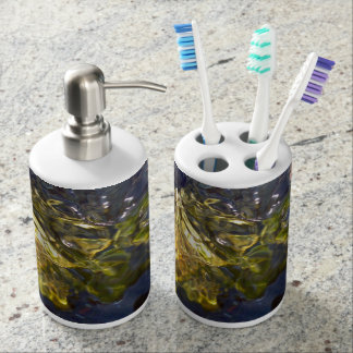 Elegant Yellow Blue Watery Abstract Photograph Soap Dispenser And Toothbrush Holder