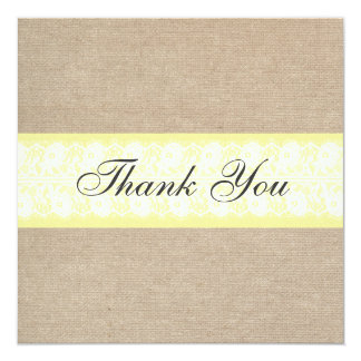 Elegant Yellow Burlap Lace Thank You Card / Note 13 Cm X 13 Cm Square Invitation Card