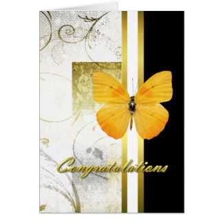 Elegant Yellow Butterfly Graduation Card